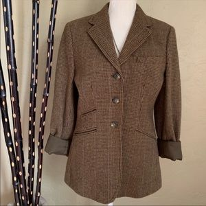 LRL Tweed Wool Blend 3 Button Brown Blazer 8